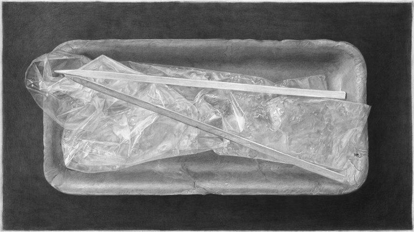 מגשית קלקר (עם אריזת שיפודי עוף) –  (Styrofoam tray (with chicken skewer wrap